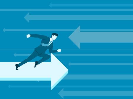 Businessman running in reverse arrow illustration