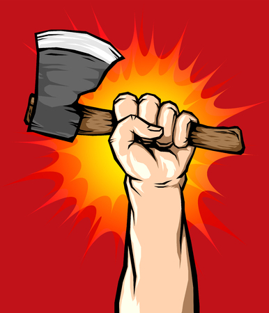 Male Hand Holding Axe in the Air, Vector illustration.