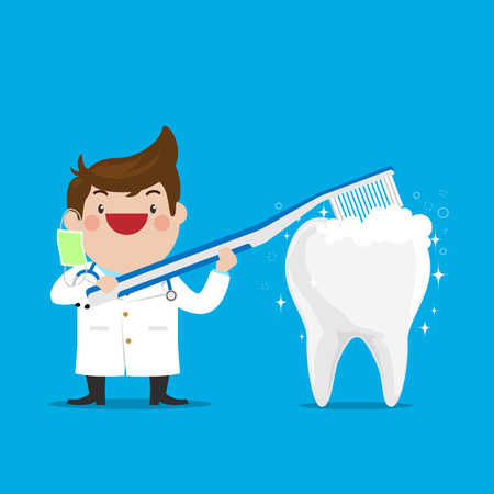 Dentist Showing how to Brush the Teeth with Clear White Healthy Teeth on isolated Blue Background. Simple Flat Vector.
