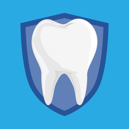 Single White and Healthy Tooth on Protection Shield isolated on Blue Background, Simple Flat Vector.