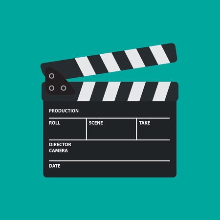 Movie slate or clapper board for movie, cinema, film director and film making device. Flat vector illustration. Vectores