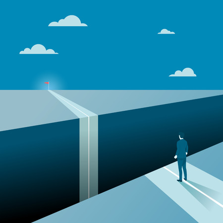 Businessman Facing a Big Gap of His Goal Target, Concept of Business Obstacles with a Big Abyss. Flat Vector. 일러스트
