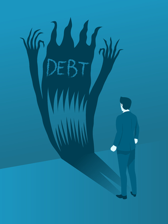 Businessman Facing the Debt Evil, Concept of Brave to handling Debt Crisis. Flat Vector.