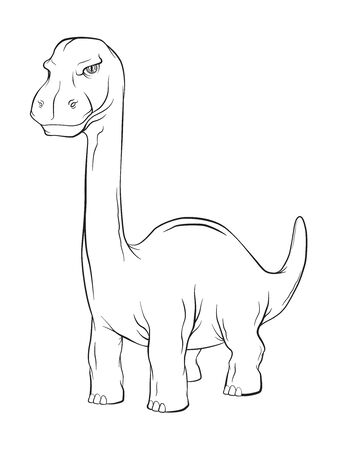 Apatosaurus Dinosaur, Long Neck Creature Monster in an Ancient Nature. Vector Line work cartoon Illustration.