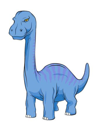 Apatosaurus Dinosaur, Long Neck Creature Monster in an Ancient Nature. Vector Color and Line work cartoon Illustration.