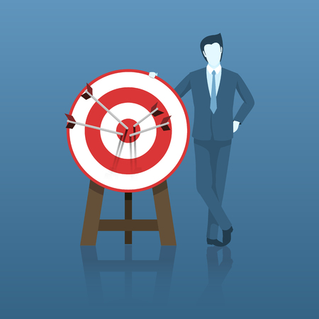 Businessman Success with His Target Goal, All Arrow Hits the Center of Target. Flat Vector.