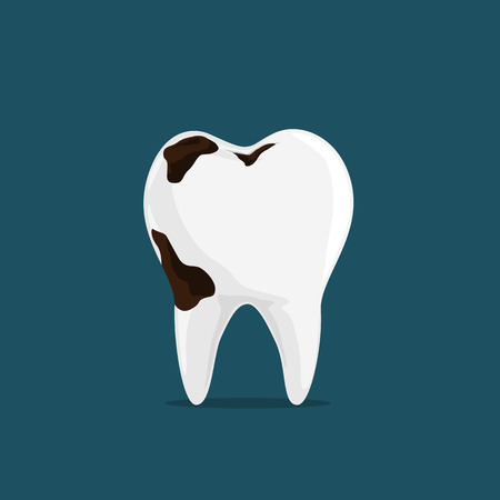 Big Hole in teeth isolated on Dark Blue Background. Ilustrace
