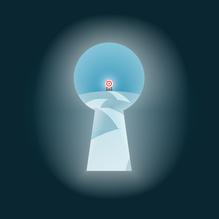 Look to Goal Target Opportunity Through the Door Keyhole view., Business Concept vector.