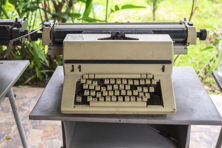 Vintage Classic Typewriter, Retro Mechanical Equipment for Journalist.