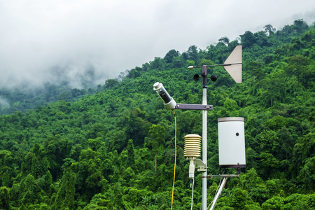An Anemometer Used for Measuring the Speed and Direction of Wind in the Forest.