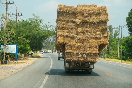 2019-03-02, Overload Truck on the Road in Saraburi Province, Thailand.