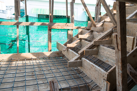 Mesh Metal Grid Wire Steel for a Concrete Stairs.