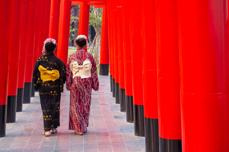 Couple Kimono Girl Walking Together Along Red Gate Temple Walk Path.
