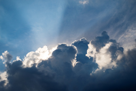 Beautiful Light Rays, Sunbeam Through Out from Clouds in the Morning.