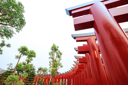 Outdoor Beautiful Scenery Red Gate Temple Walk Path in the Morning.