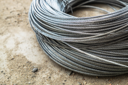 Small Size Metal Cable Wire. Heavy Load Sling Rope on the Construction Ground.