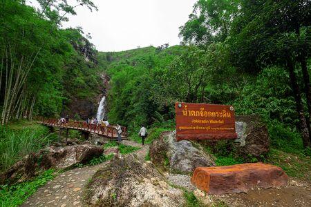 2019-07-30 Jokkradin Waterfall and Tourist, Thong Pha Phum National Park, Karnchanaburi Province, Thailand.