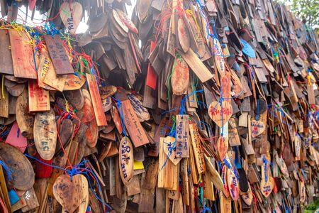 2019-07-30 Many Wooden Tag from Tourist in Pilok Karnchanaburi, Thailand.