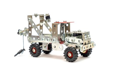 DIY Toy, Mini Metal Alloy Crane Truck on iSolated White Background. Good Old Memory. 版權商用圖片