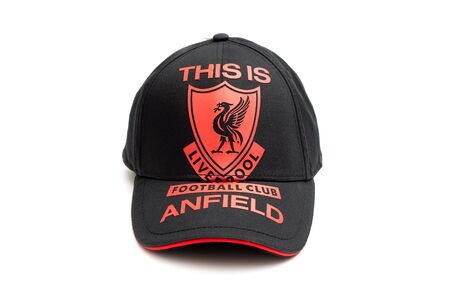 New Liverpool Football Club Black-Red Cap Souvenir on iSolated White Background.