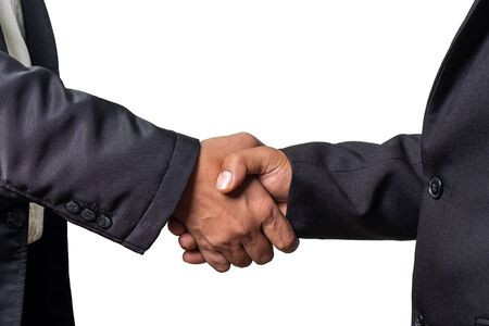 Businessman  Shake Hands Together on iSolated White Background. Concept Picture of Successful Business Agreement. Stock Photo