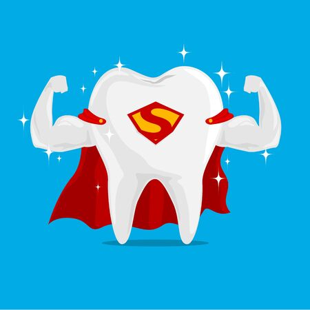 Super Tooth Hero on iSolated Background. Concept of Very Strong Tooth Protection the Kids. 版權商用圖片 - 132125308