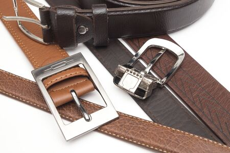 Genuine Leather Belt on the iSolated White Background. Elegance and Luxury Style. 写真素材