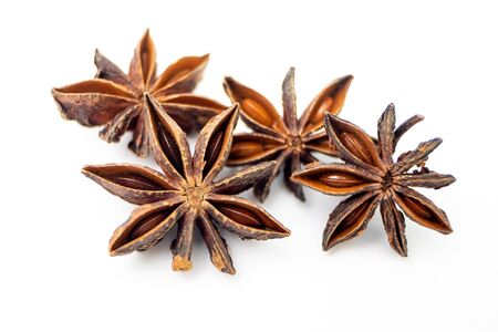 Star Anise, Illicium verum Hook. Organic Exotic Herbs and Spices on iSolated White Background. 写真素材