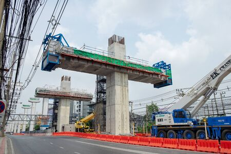 2019-10-01 BTS Sky Train Construction Site Building on Ladprao Road. Bangkok, Thailand.