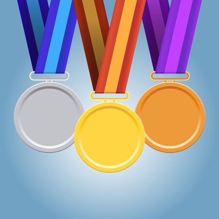 Gold, Silver, Bronze Medals on iSolated Background. Professional Achievement for the Winner.