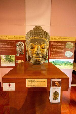 2019-10-19 Head of Buddha Statue in the Ratchaburi Museum. Ratchaburi Province, Thailand.