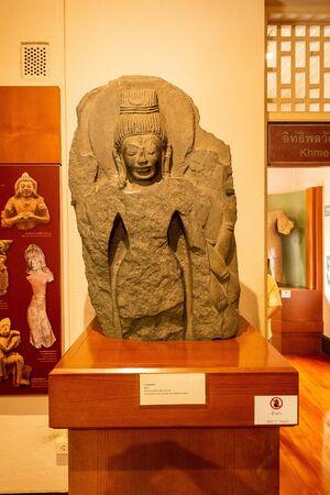2019-10-19 Dvaravati Statue Found at Wat Kao Luae in Ratchaburi Museum. Ratchaburi Province. Thailand. 報道画像