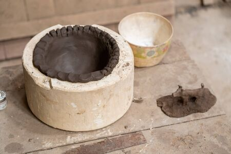 Clay in Clay Moulding Block Making in the Ceramics Factory.