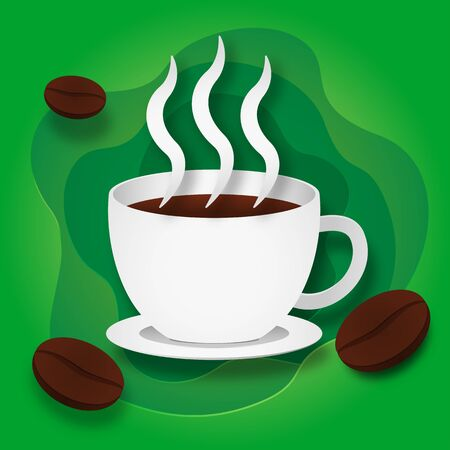 Paper Style Hot Coffee or Hot Chocolate with Coffee Beans on Green Background.
