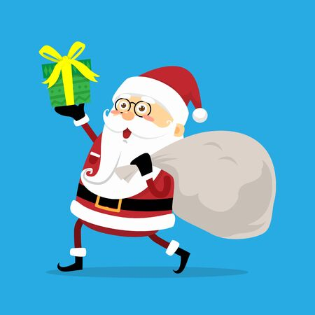 Santa Claus with the Gift and Present Bag on iSolated Background. Иллюстрация