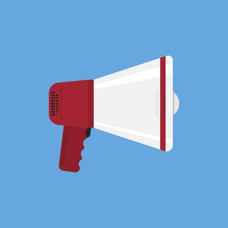 Flat Design Megaphone on iSolated Blue Background. Vintage Contemporary Communicate iNstrument.  イラスト・ベクター素材