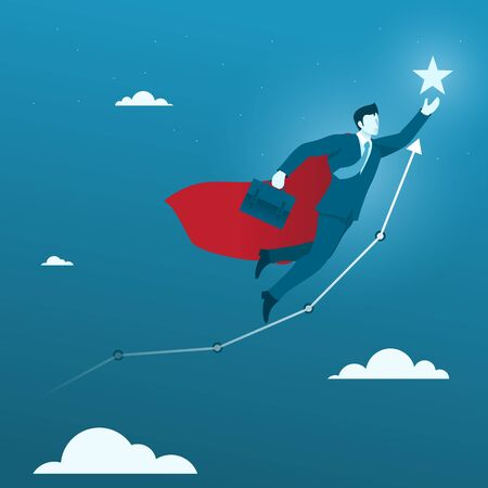 Fly High to the Goal. Flat Businessman Flying to the Star Target Goal.