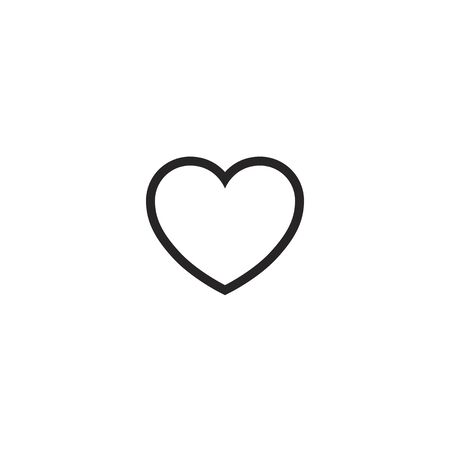 Flat Simple White Heart iCon on iSolated White Background. Love and Valentine's Day Simple Design.