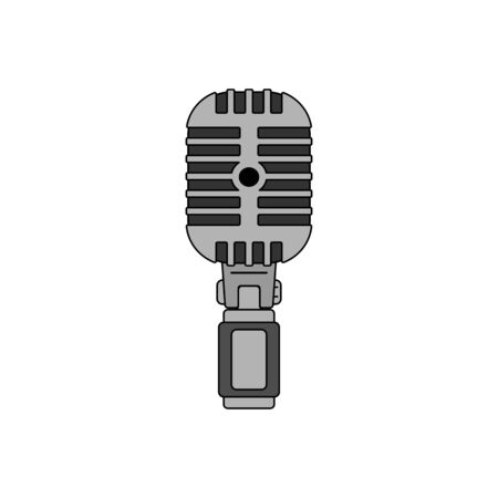 Flat Design Classic Retro Look Microphone on isolated White Background. Vintage Look High Technology.