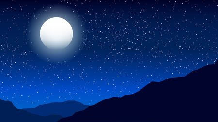 Beautiful Midnight Landscape Shining Moon and Stars Sky in the Darkness.