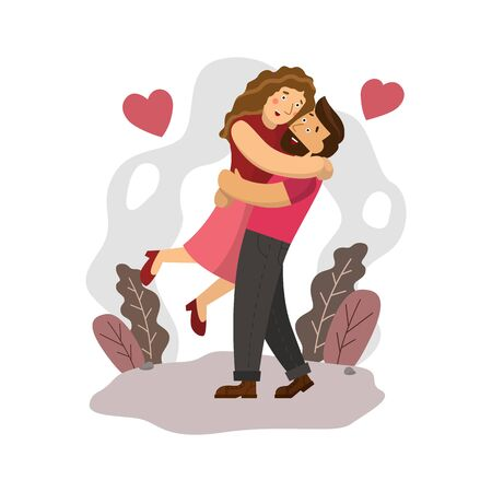 Happy Couple Holding Together with Love in Valentines Day, Flat Design Character.