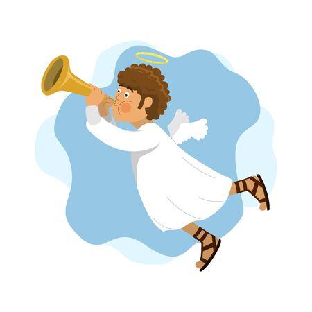 Cute Little Angel Blowing Trumpet Horn iNstrument, Flat Design Character.