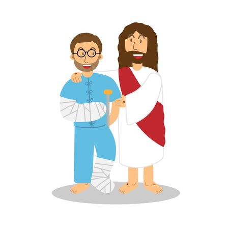 Jesus Help and Blessed the Patient Male Cute Character Simple Design Style Cartoon. Vektorgrafik