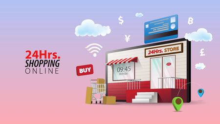 24 Hours Online Shopping Store, Concept of Every Where and Every Time Shopping.