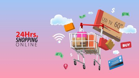 24 Hours Online Shopping, Concept of Every Where and Every Time Shopping.