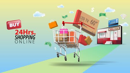 Buy and Delivery 24 Hours Online Shopping, Concept of Every Where and Every Time Shopping. Illusztráció
