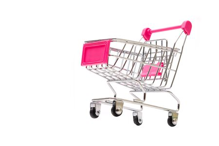 Beautiful Pink Shopping Container Cart on iSolated White Background.