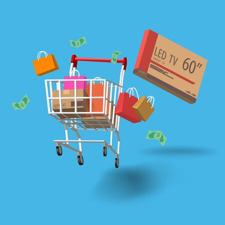 Shopping with Full of Stuff, Concept of Shopping Season on iSolated Background. Ilustrace