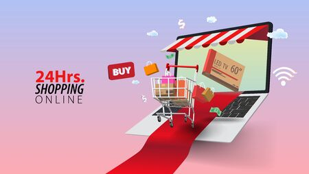 Buy and Delivery 24 Hours Online Shopping, Concept of Every Where and Every Time Shopping. Ilustrace