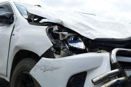 Car Crash, White Car Get Damaged by Accident on the Road. Reklamní fotografie